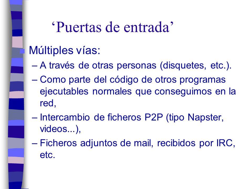 Puertas de entrada n Múltiples vías: –A través de otras personas (disquetes, etc.).