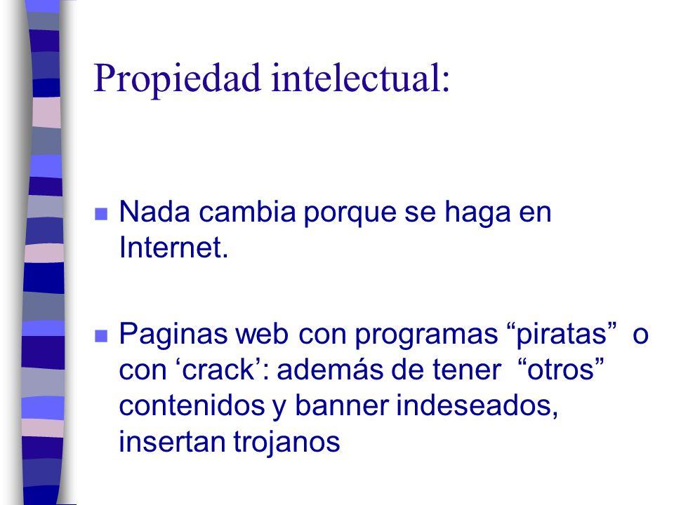 Propiedad intelectual: n Nada cambia porque se haga en Internet.