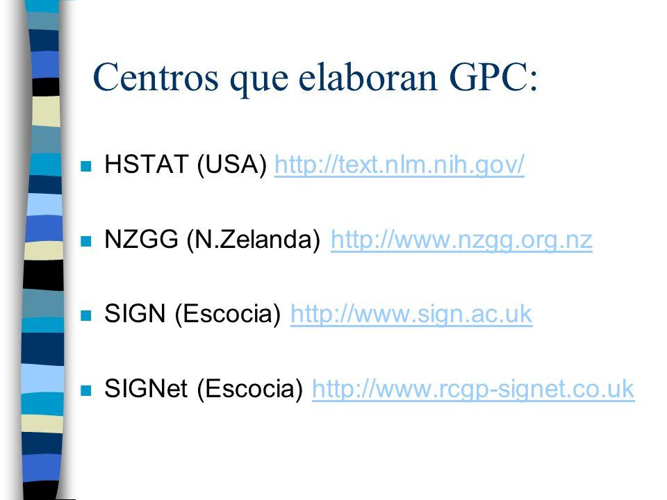 Centros que elaboran GPC: n HSTAT (USA) http://text.nlm.nih.gov/http://text.nlm.nih.gov/ n NZGG (N.Zelanda) http://www.nzgg.org.nzhttp://www.nzgg.org.