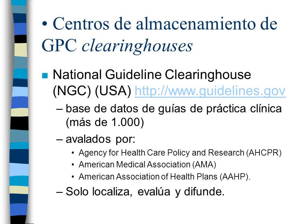 Centros de almacenamiento de GPC clearinghouses n National Guideline Clearinghouse (NGC) (USA) http://www.guidelines.govhttp://www.guidelines.gov –bas
