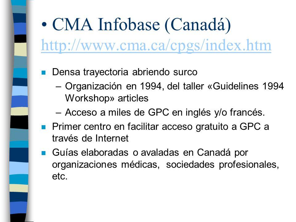 CMA Infobase (Canadá) http://www.cma.ca/cpgs/index.htm http://www.cma.ca/cpgs/index.htm n Densa trayectoria abriendo surco –Organización en 1994, del