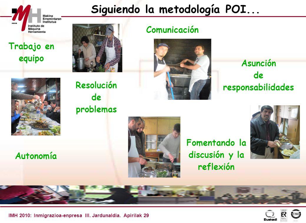 IMH 2010: Inmigrazioa-enpresa III.Jardunaldia. Apirilak 29 Siguiendo la metodología POI...