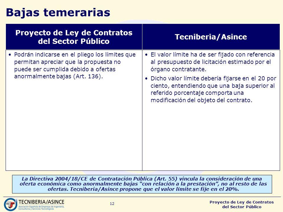 Proyecto de Ley de Contratos del Sector Público 12 Bajas temerarias La Directiva 2004/18/CE de Contratación Pública (Art.