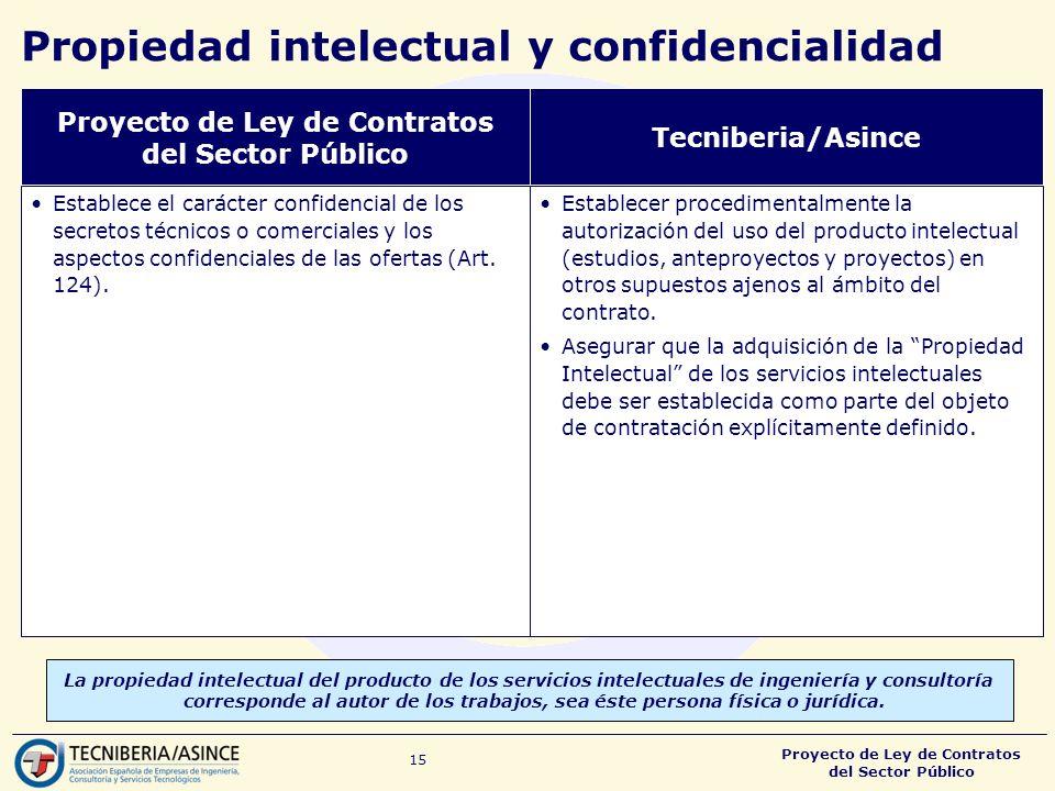 Proyecto de Ley de Contratos del Sector Público 15 Propiedad intelectual y confidencialidad La propiedad intelectual del producto de los servicios intelectuales de ingeniería y consultoría corresponde al autor de los trabajos, sea éste persona física o jurídica.