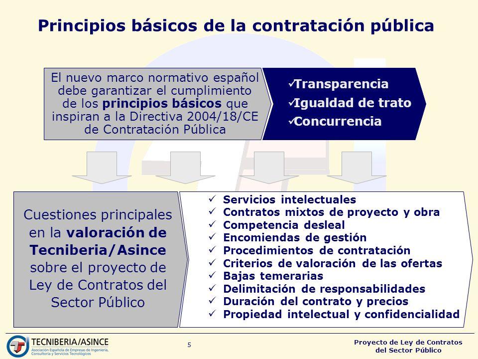 Proyecto de Ley de Contratos del Sector Público 5 Principios básicos de la contratación pública El nuevo marco normativo español debe garantizar el cumplimiento de los principios básicos que inspiran a la Directiva 2004/18/CE de Contratación Pública Transparencia Igualdad de trato Concurrencia Servicios intelectuales Contratos mixtos de proyecto y obra Competencia desleal Encomiendas de gestión Procedimientos de contratación Criterios de valoración de las ofertas Bajas temerarias Delimitación de responsabilidades Duración del contrato y precios Propiedad intelectual y confidencialidad Cuestiones principales en la valoración de Tecniberia/Asince sobre el proyecto de Ley de Contratos del Sector Público