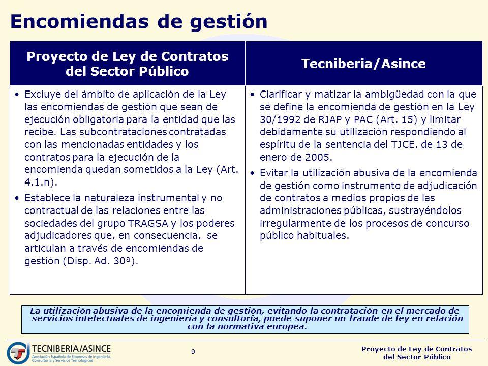 Proyecto de Ley de Contratos del Sector Público 9 Encomiendas de gestión La utilización abusiva de la encomienda de gestión, evitando la contratación en el mercado de servicios intelectuales de ingeniería y consultoría, puede suponer un fraude de ley en relación con la normativa europea.