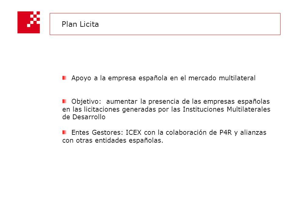 Apoyo a la empresa española en el mercado multilateral Objetivo: aumentar la presencia de las empresas españolas en las licitaciones generadas por las Instituciones Multilaterales de Desarrollo Entes Gestores: ICEX con la colaboración de P4R y alianzas con otras entidades españolas.
