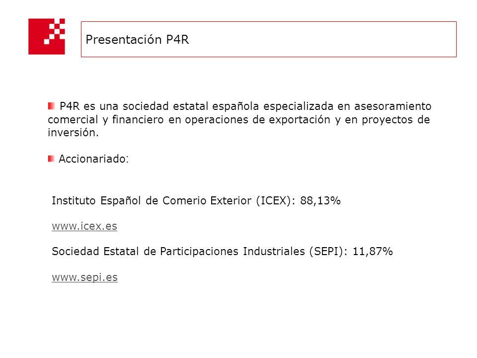 Presentación P4R P4R es una sociedad estatal española especializada en asesoramiento comercial y financiero en operaciones de exportación y en proyectos de inversión.