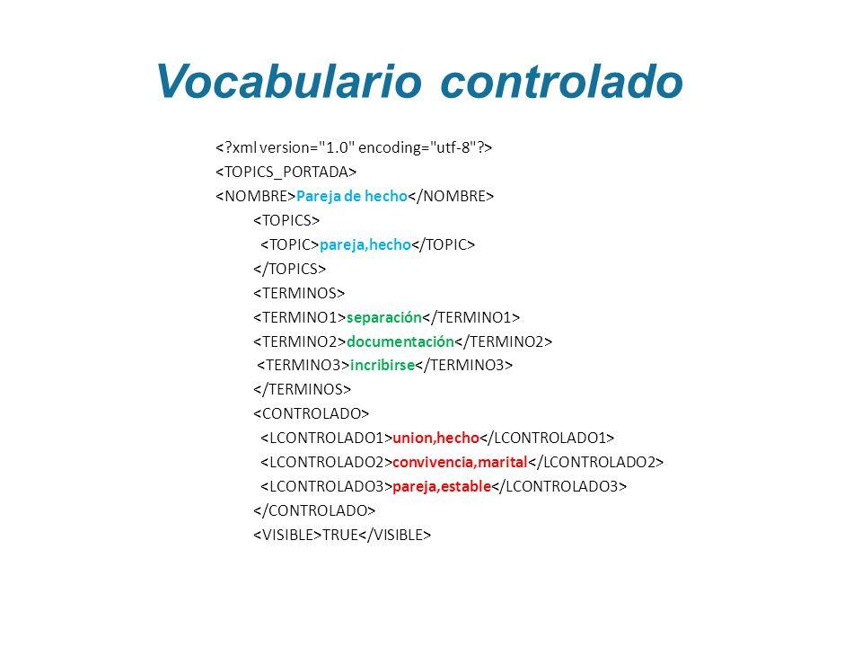 Vocabulario controlado Pareja de hecho pareja,hecho separación documentación incribirse union,hecho convivencia,marital pareja,estable TRUE