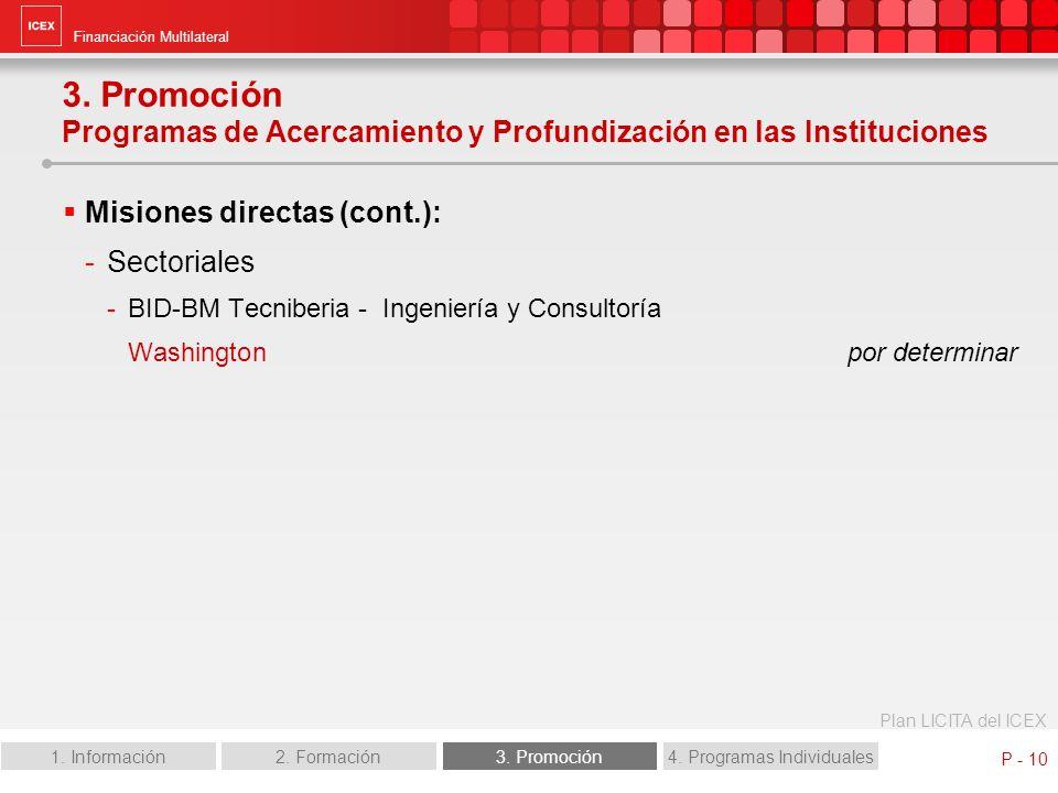 Financiación Multilateral Plan LICITA del ICEX 1. Información2. Formación3. Promoción4. Programas Individuales P - 10 Misiones directas (cont.): -Sect
