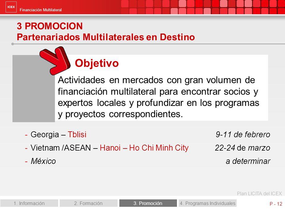 Financiación Multilateral Plan LICITA del ICEX 1. Información2. Formación3. Promoción4. Programas Individuales P - 12 3 PROMOCION Partenariados Multil
