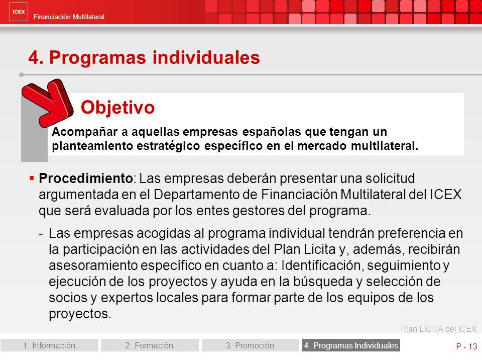 Financiación Multilateral Plan LICITA del ICEX 1. Información2. Formación3. Promoción4. Programas Individuales P - 13 4. Programas individuales Proced