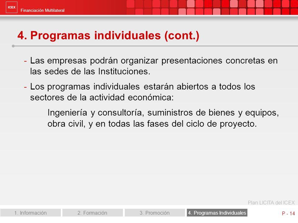 Financiación Multilateral Plan LICITA del ICEX 1. Información2. Formación3. Promoción4. Programas Individuales P - 14 4. Programas individuales (cont.