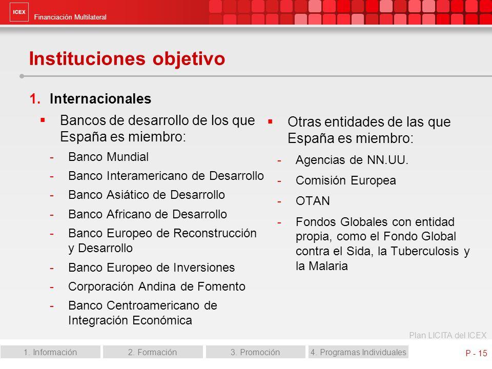 Financiación Multilateral Plan LICITA del ICEX 1. Información2. Formación3. Promoción4. Programas Individuales P - 15 Instituciones objetivo Internaci