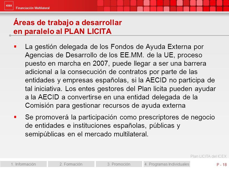 Financiación Multilateral Plan LICITA del ICEX 1. Información2. Formación3. Promoción4. Programas Individuales P - 18 Áreas de trabajo a desarrollar e