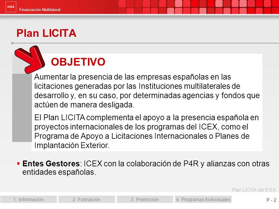 Financiación Multilateral Plan LICITA del ICEX 1. Información2. Formación3. Promoción4. Programas Individuales P - 2 Plan LICITA Entes Gestores: ICEX