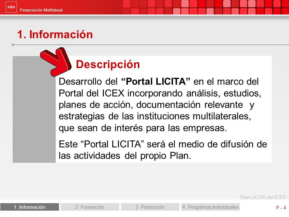 Financiación Multilateral Plan LICITA del ICEX 1. Información2. Formación3. Promoción4. Programas Individuales P - 4 1. Información Descripción Desarr