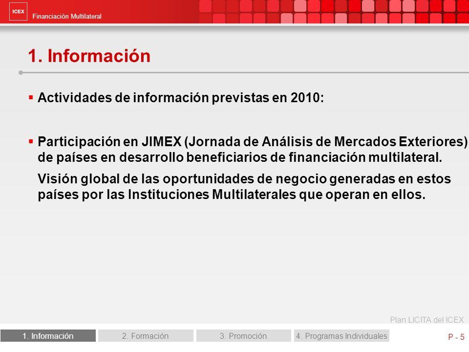 Financiación Multilateral Plan LICITA del ICEX 1. Información2. Formación3. Promoción4. Programas Individuales P - 5 1. Información Actividades de inf