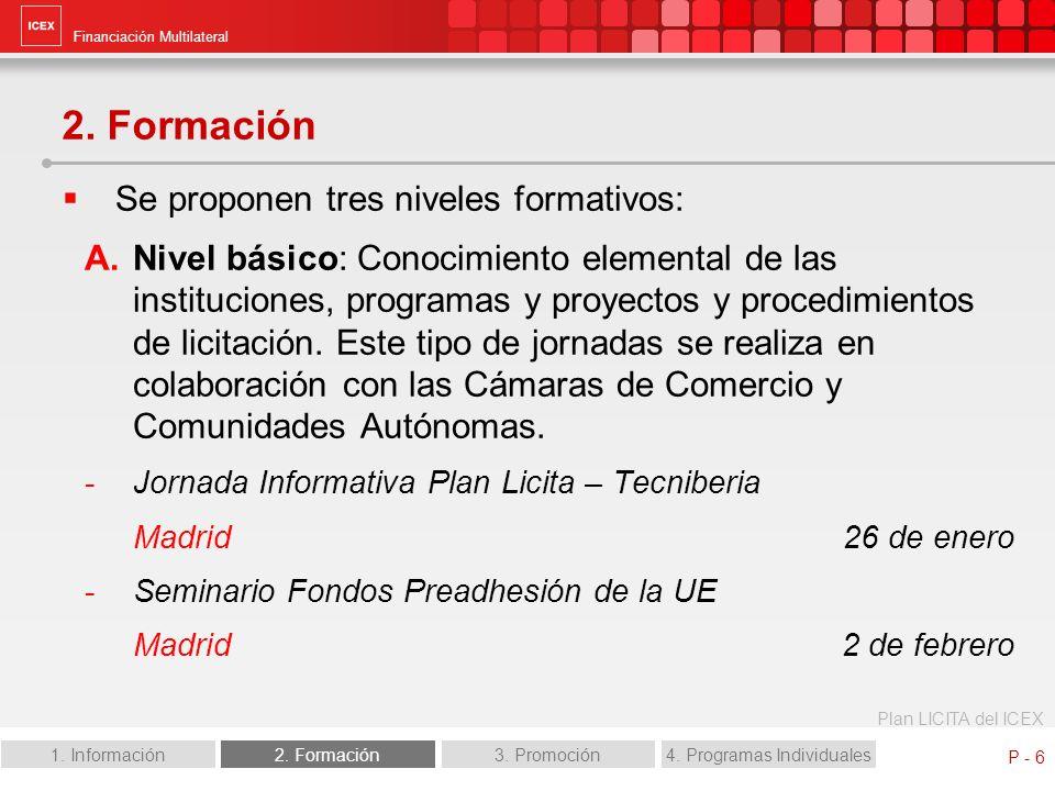 Financiación Multilateral Plan LICITA del ICEX 1. Información2. Formación3. Promoción4. Programas Individuales P - 6 2. Formación Se proponen tres niv