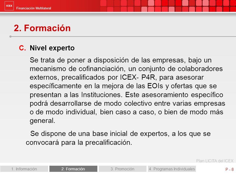 Financiación Multilateral Plan LICITA del ICEX 1. Información2. Formación3. Promoción4. Programas Individuales P - 8 2. Formación C.Nivel experto Se t