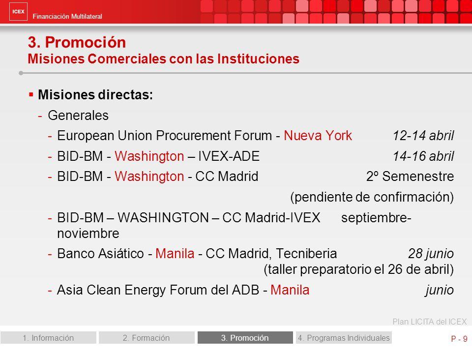 Financiación Multilateral Plan LICITA del ICEX 1. Información2. Formación3. Promoción4. Programas Individuales P - 9 3. Promoción Misiones Comerciales