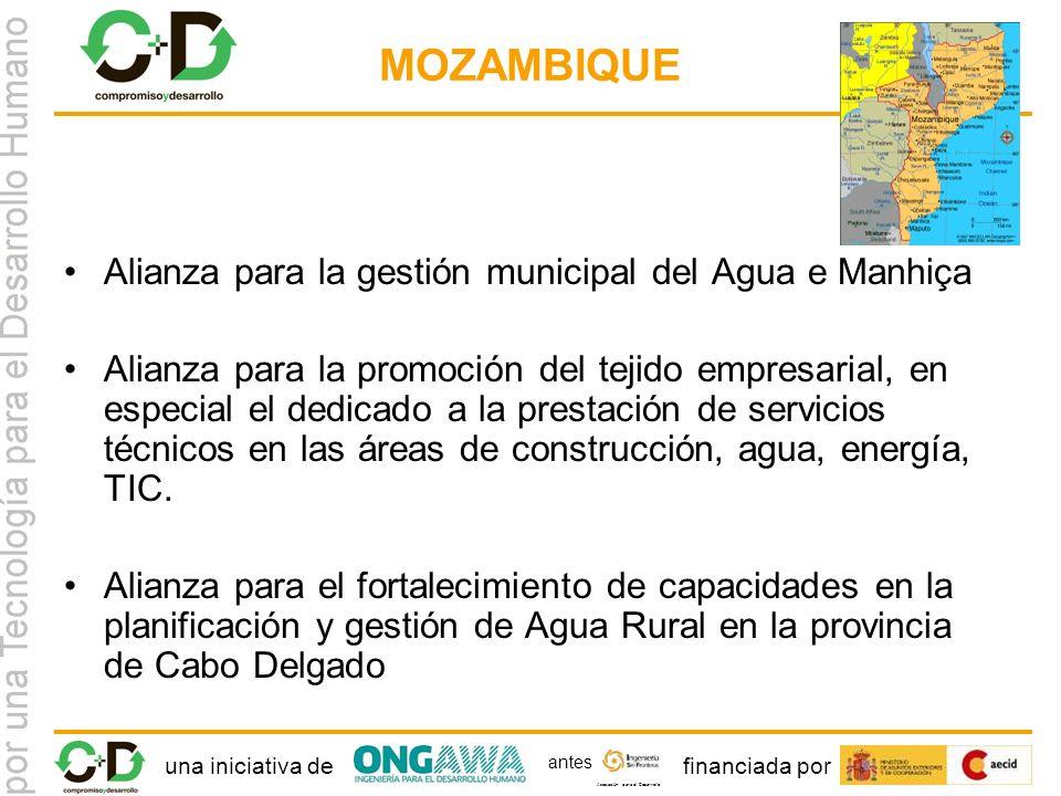 una iniciativa definanciada por Asociación para el Desarrollo antes MOZAMBIQUE Alianza para la gestión municipal del Agua e Manhiça Alianza para la promoción del tejido empresarial, en especial el dedicado a la prestación de servicios técnicos en las áreas de construcción, agua, energía, TIC.