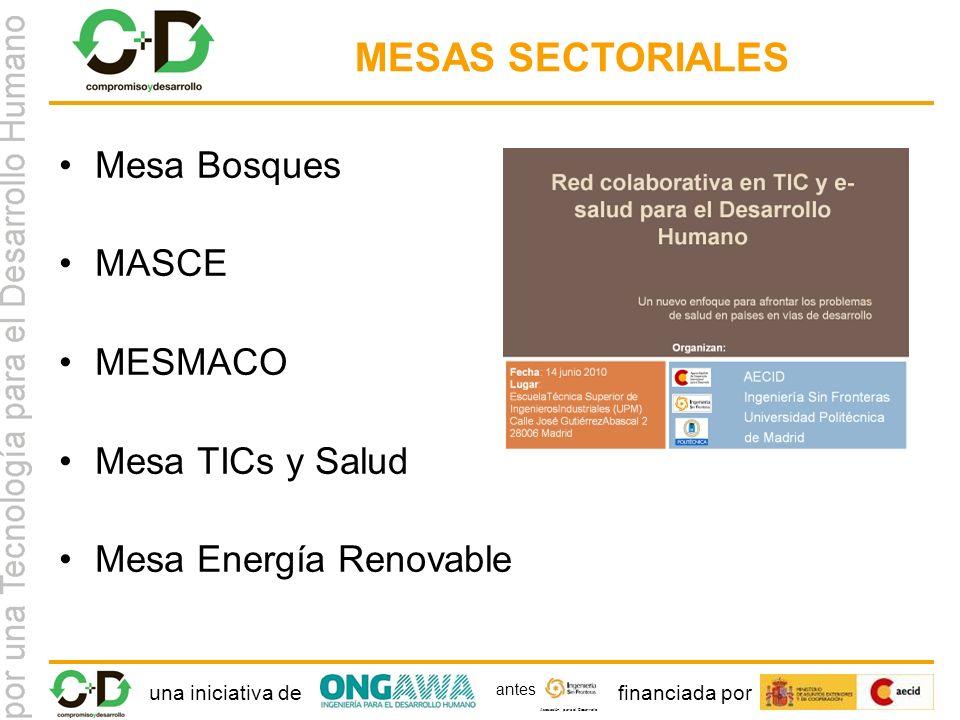una iniciativa definanciada por Asociación para el Desarrollo antes MESAS SECTORIALES Mesa Bosques MASCE MESMACO Mesa TICs y Salud Mesa Energía Renovable