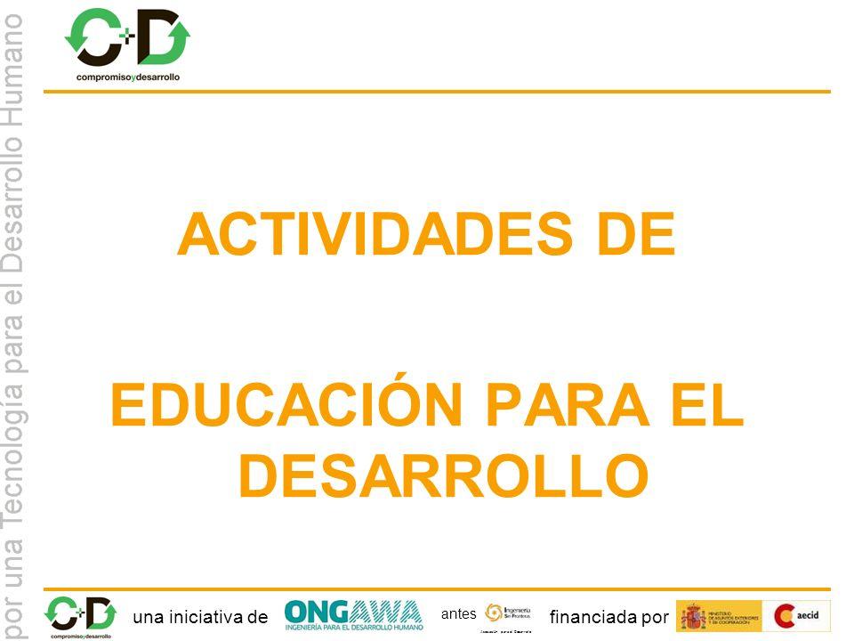 una iniciativa definanciada por Asociación para el Desarrollo antes ACTIVIDADES DE EDUCACIÓN PARA EL DESARROLLO