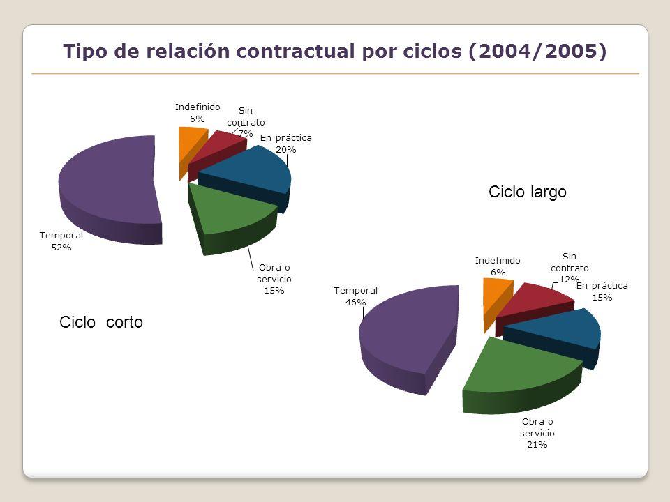 Clasificación de las titulaciones con mayor acceso al empleo a través de contratos en prácticas(2004/2005)