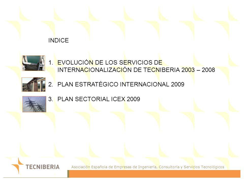 Asociación Española de Empresas de Ingeniería, Consultoría y Servicios Tecnológicos EVOLUCIÓN DE LOS SERVICIOS DE INTERNACIONALIZACIÓN DE TECNIBERIA 2003 - 2008 EVOLUCIÓN DE LOS SERVICIOS DE INTERNACIONALIZACIÓN DE TECNIBERIA 2003 - 2008