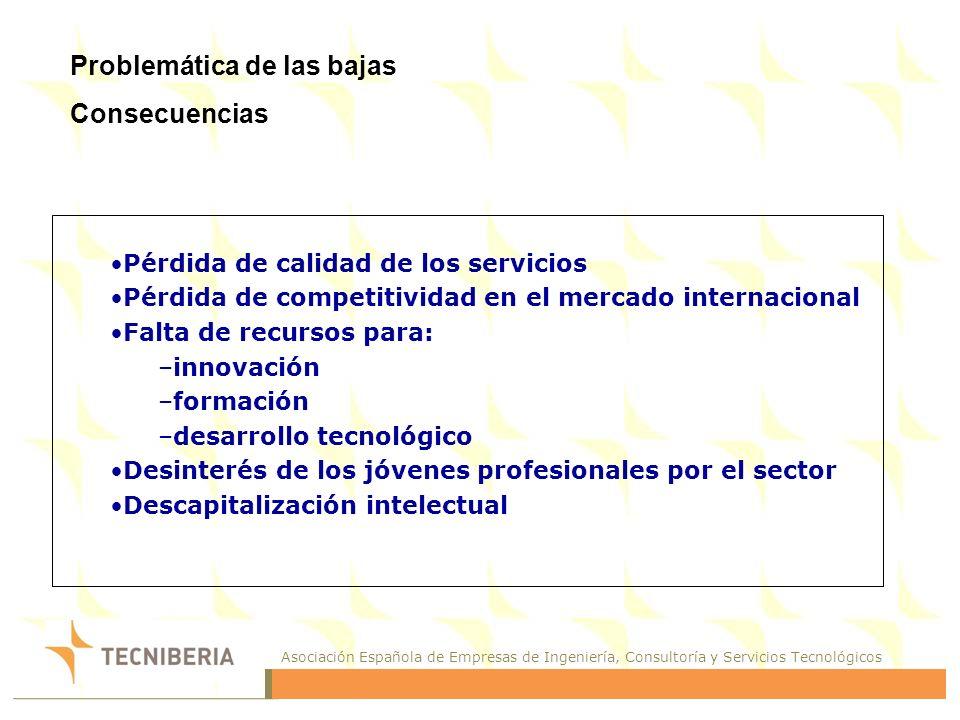 Asociación Española de Empresas de Ingeniería, Consultoría y Servicios Tecnológicos Problemática de las bajas Consecuencias Pérdida de calidad de los servicios Pérdida de competitividad en el mercado internacional Falta de recursos para: –innovación –formación –desarrollo tecnológico Desinterés de los jóvenes profesionales por el sector Descapitalización intelectual