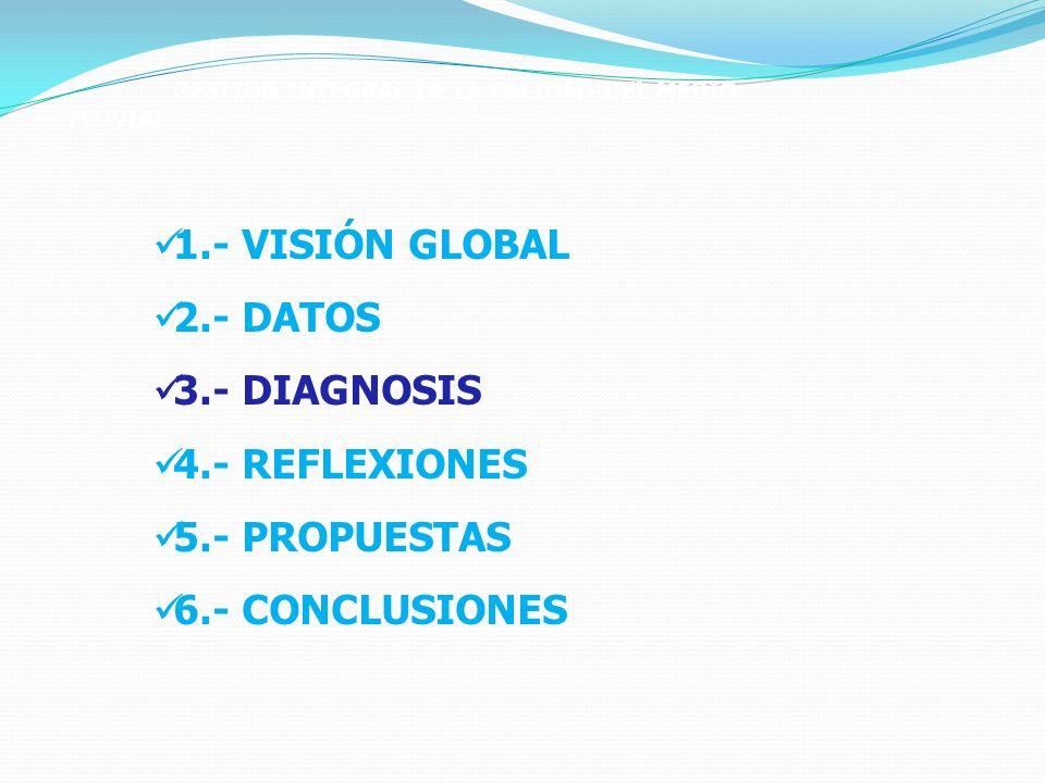 GESTIÓN INTEGRAL DE LA CALIDAD DEL MEDIO FLUVIAL 1.- VISIÓN GLOBAL 2.- DATOS 3.- DIAGNOSIS 4.- REFLEXIONES 5.- PROPUESTAS 6.- CONCLUSIONES