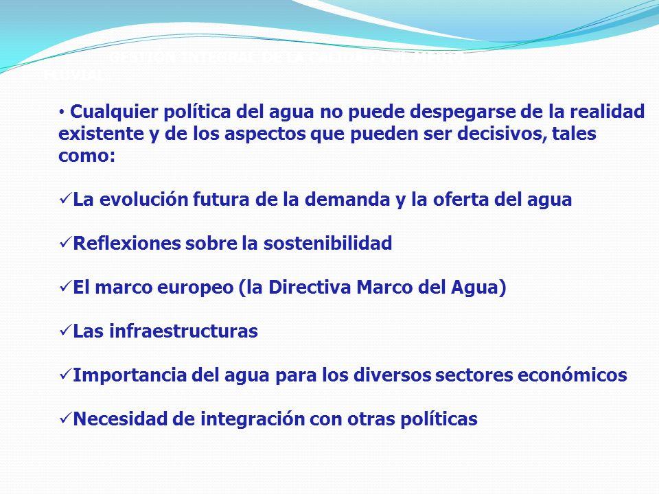 GESTIÓN INTEGRAL DE LA CALIDAD DEL MEDIO FLUVIAL Cualquier política del agua no puede despegarse de la realidad existente y de los aspectos que pueden ser decisivos, tales como: La evolución futura de la demanda y la oferta del agua Reflexiones sobre la sostenibilidad El marco europeo (la Directiva Marco del Agua) Las infraestructuras Importancia del agua para los diversos sectores económicos Necesidad de integración con otras políticas