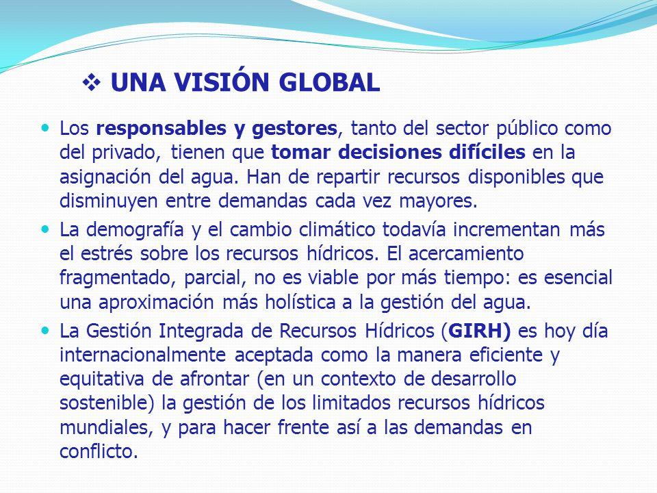 UNA VISIÓN GLOBAL Los responsables y gestores, tanto del sector público como del privado, tienen que tomar decisiones difíciles en la asignación del agua.