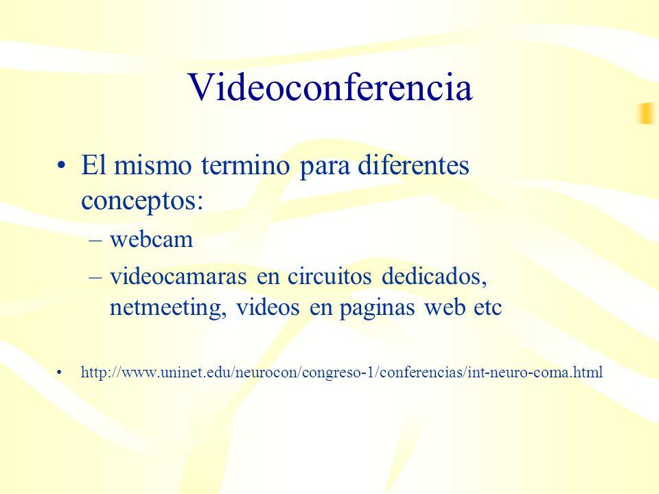 Videoconferencia El mismo termino para diferentes conceptos: –webcam –videocamaras en circuitos dedicados, netmeeting, videos en paginas web etc http://www.uninet.edu/neurocon/congreso-1/conferencias/int-neuro-coma.html
