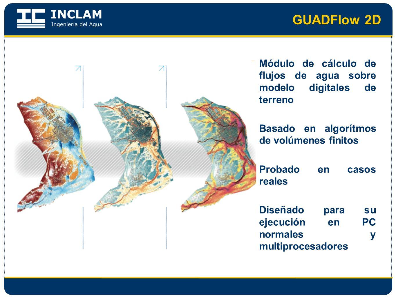 GUADFlow 2D Módulo de cálculo de flujos de agua sobre modelo digitales de terreno Basado en algorítmos de volúmenes finitos Probado en casos reales Di