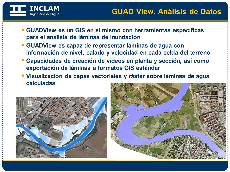 GUAD View. Análisis de Datos GUADView es un GIS en si mismo con herramientas específicas para el análisis de láminas de inundación GUADView es capaz d