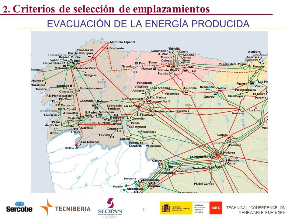 TECHNICAL CONFERENCE ON RENEWABLE ENERGIES 11 EVACUACIÓN DE LA ENERGÍA PRODUCIDA 2. Criterios de selección de emplazamientos