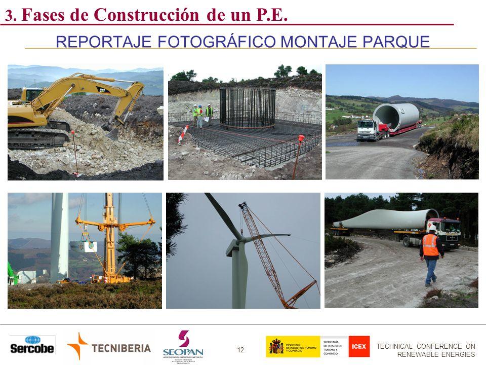 TECHNICAL CONFERENCE ON RENEWABLE ENERGIES 12 REPORTAJE FOTOGRÁFICO MONTAJE PARQUE 3. Fases de Construcción de un P.E.