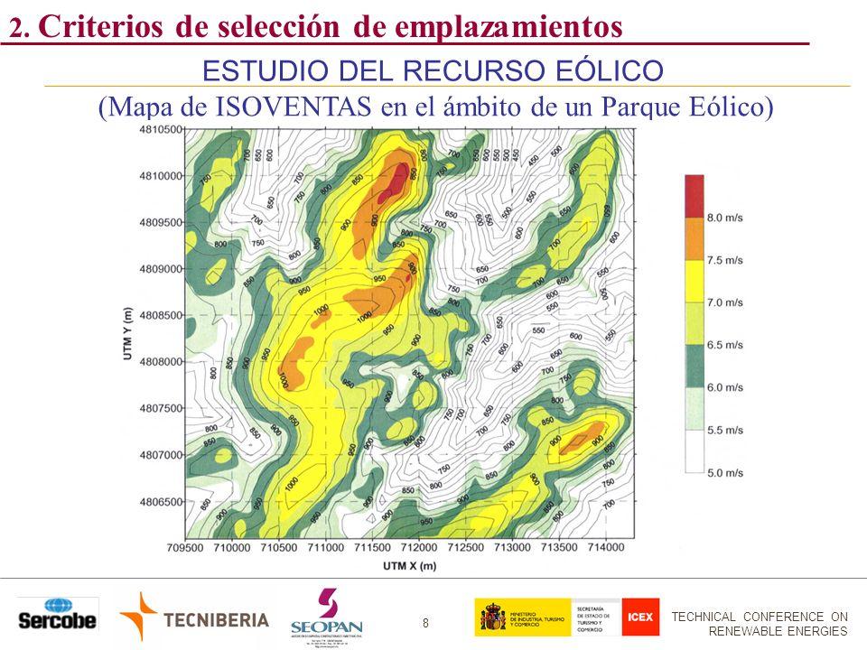 TECHNICAL CONFERENCE ON RENEWABLE ENERGIES 8 ESTUDIO DEL RECURSO EÓLICO (Mapa de ISOVENTAS en el ámbito de un Parque Eólico) 2. Criterios de selección