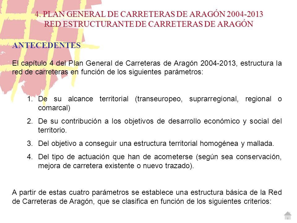 4. PLAN GENERAL DE CARRETERAS DE ARAGÓN 2004-2013 RED ESTRUCTURANTE DE CARRETERAS DE ARAGÓN ANTECEDENTES El capítulo 4 del Plan General de Carreteras