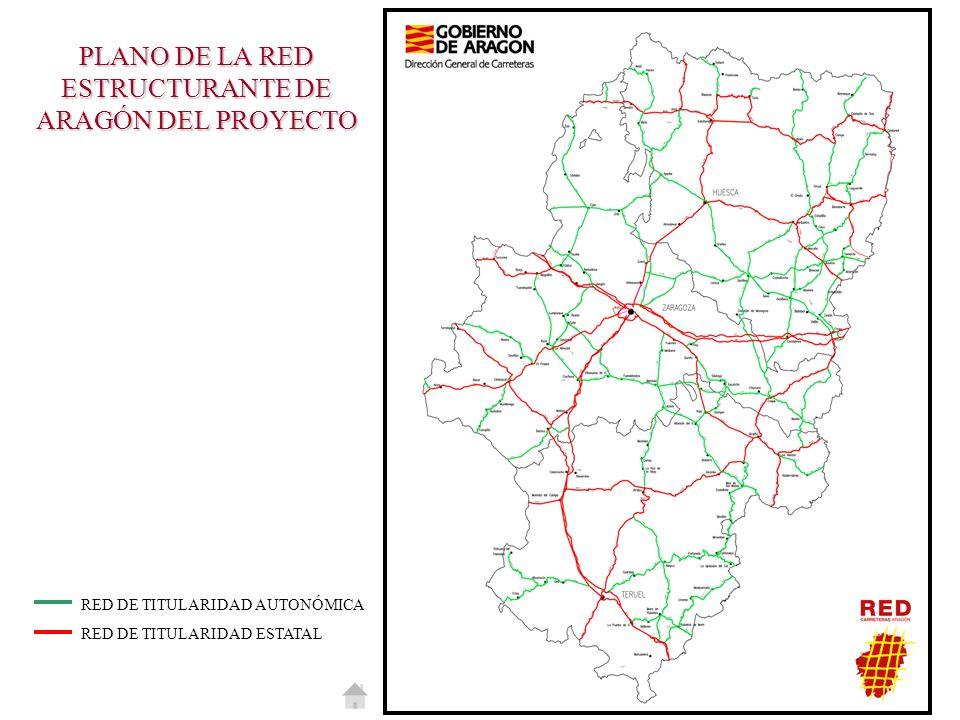PLANO DE LA RED ESTRUCTURANTE DE ARAGÓN DEL PROYECTO RED DE TITULARIDAD AUTONÓMICA RED DE TITULARIDAD ESTATAL