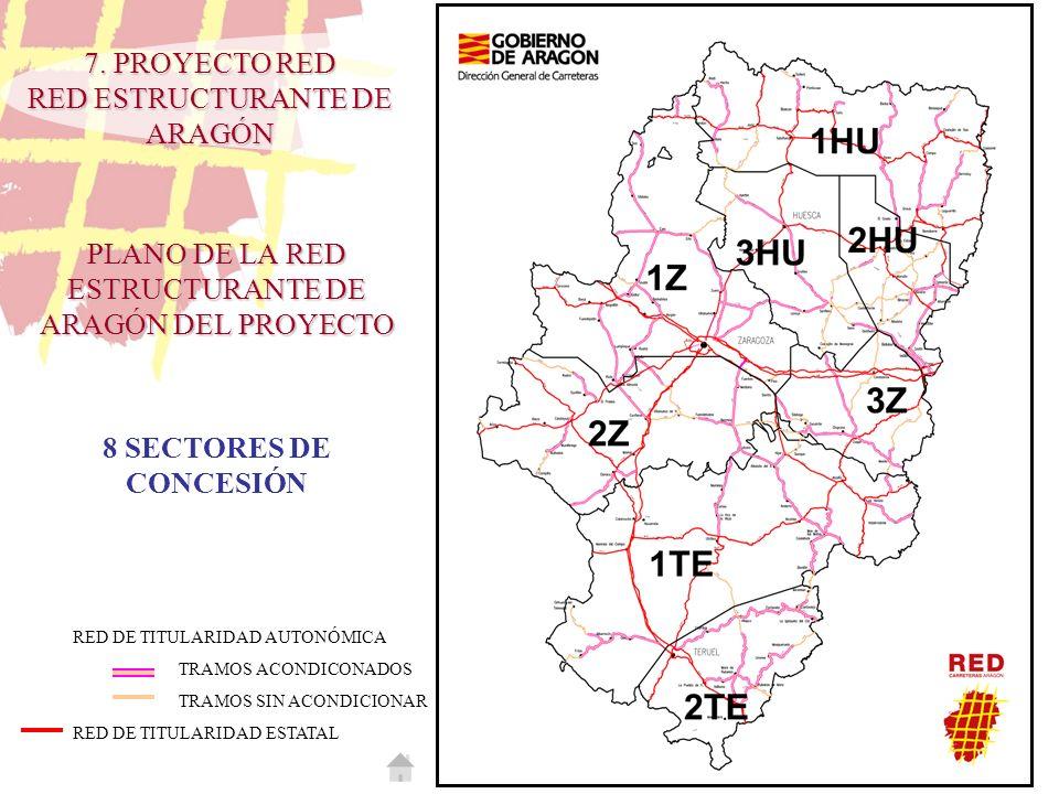 PLANO DE LA RED ESTRUCTURANTE DE ARAGÓN DEL PROYECTO RED DE TITULARIDAD AUTONÓMICA TRAMOS ACONDICONADOS TRAMOS SIN ACONDICIONAR RED DE TITULARIDAD EST