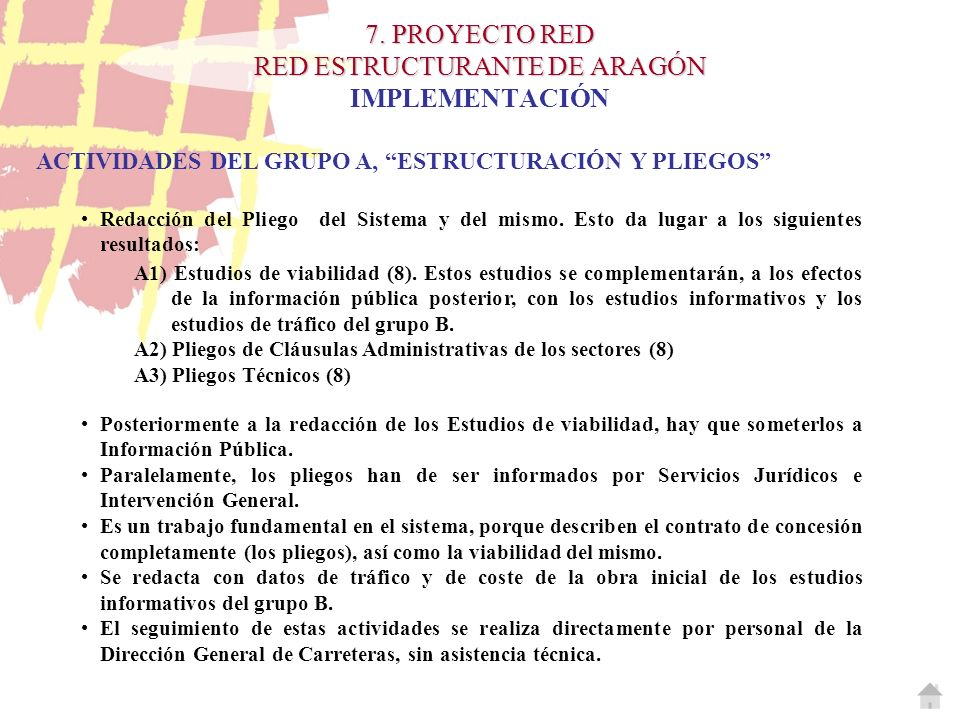 7. PROYECTO RED RED ESTRUCTURANTE DE ARAGÓN 7. PROYECTO RED RED ESTRUCTURANTE DE ARAGÓN IMPLEMENTACIÓN ACTIVIDADES DEL GRUPO A, ESTRUCTURACIÓN Y PLIEG