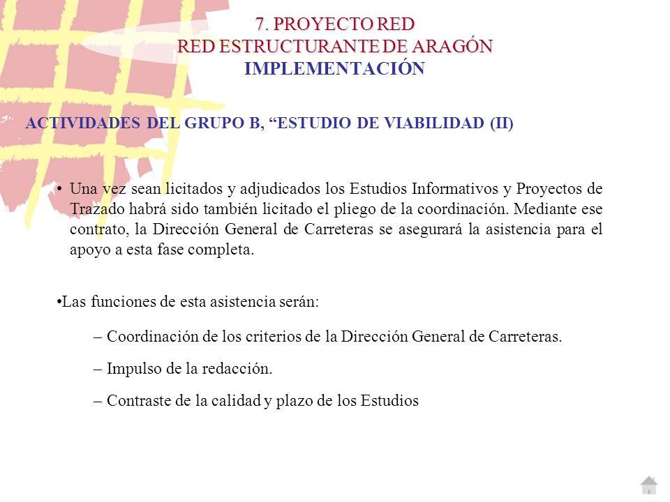7. PROYECTO RED RED ESTRUCTURANTE DE ARAGÓN 7. PROYECTO RED RED ESTRUCTURANTE DE ARAGÓN IMPLEMENTACIÓN ACTIVIDADES DEL GRUPO B, ESTUDIO DE VIABILIDAD