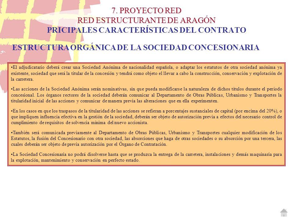 7. PROYECTO RED RED ESTRUCTURANTE DE ARAGÓN 7. PROYECTO RED RED ESTRUCTURANTE DE ARAGÓN PRICIPALES CARACTERÍSTICAS DEL CONTRATO ESTRUCTURA ORGÁNICA DE