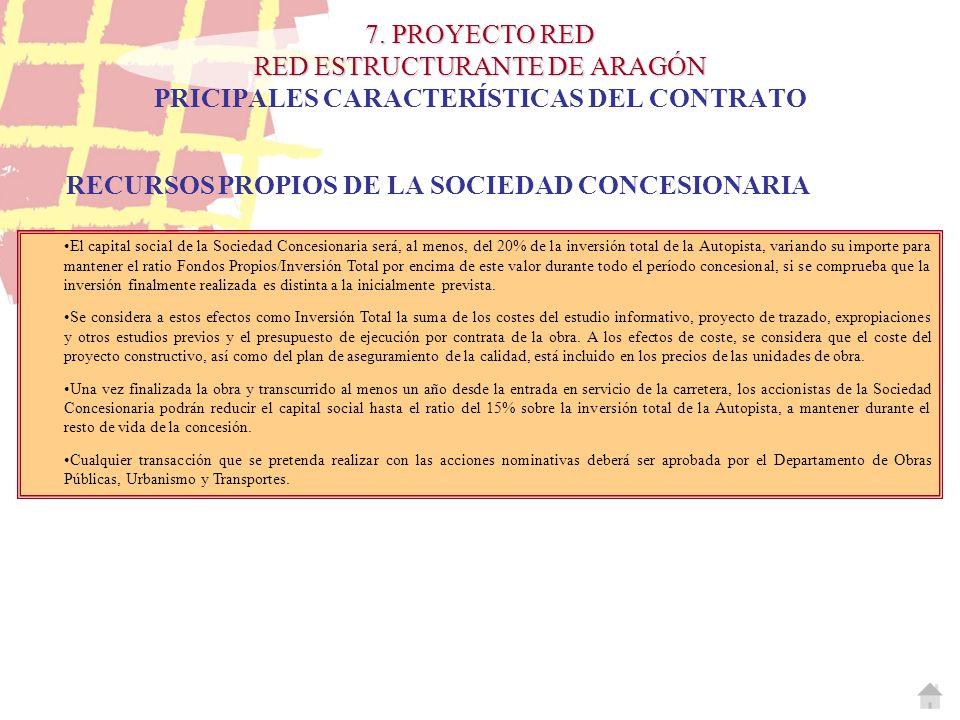 7. PROYECTO RED RED ESTRUCTURANTE DE ARAGÓN 7. PROYECTO RED RED ESTRUCTURANTE DE ARAGÓN PRICIPALES CARACTERÍSTICAS DEL CONTRATO RECURSOS PROPIOS DE LA