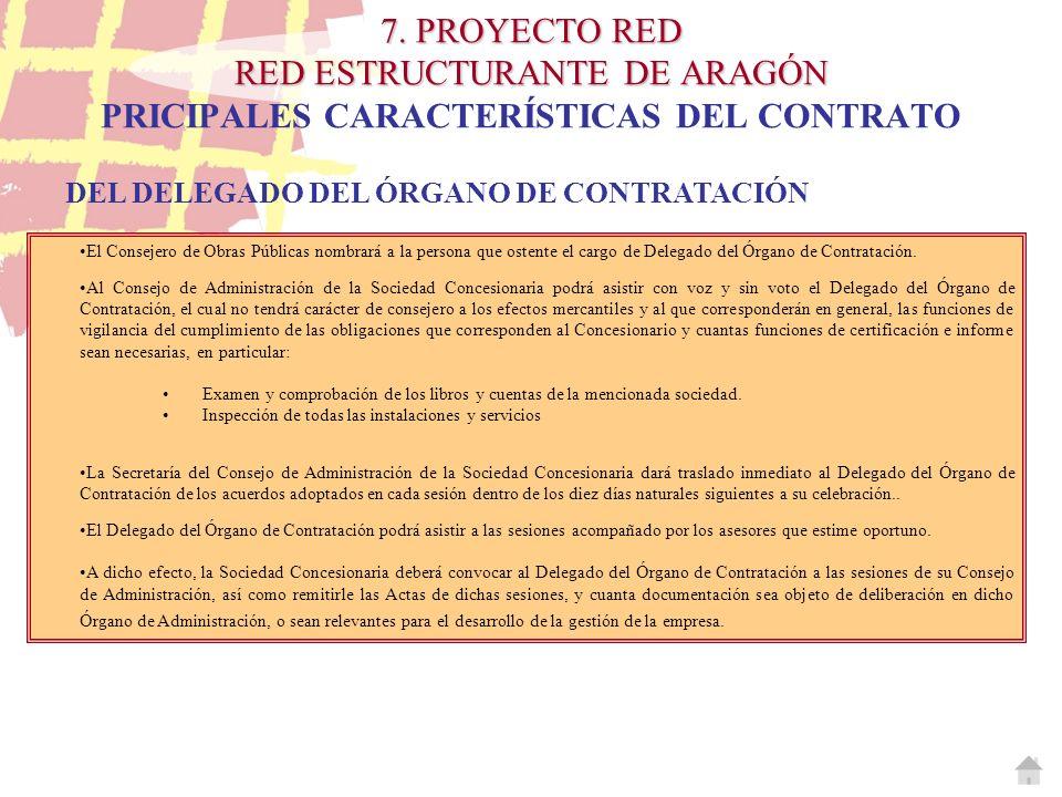 7. PROYECTO RED RED ESTRUCTURANTE DE ARAGÓN 7. PROYECTO RED RED ESTRUCTURANTE DE ARAGÓN PRICIPALES CARACTERÍSTICAS DEL CONTRATO DEL DELEGADO DEL ÓRGAN