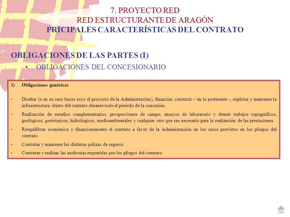 7. PROYECTO RED RED ESTRUCTURANTE DE ARAGÓN 7. PROYECTO RED RED ESTRUCTURANTE DE ARAGÓN PRICIPALES CARACTERÍSTICAS DEL CONTRATO OBLIGACIONES DE LAS PA