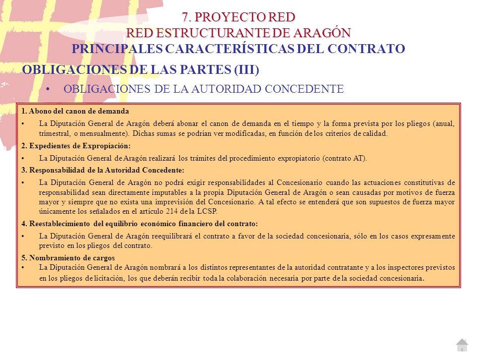 7. PROYECTO RED RED ESTRUCTURANTE DE ARAGÓN 7. PROYECTO RED RED ESTRUCTURANTE DE ARAGÓN PRINCIPALES CARACTERÍSTICAS DEL CONTRATO 1. Abono del canon de